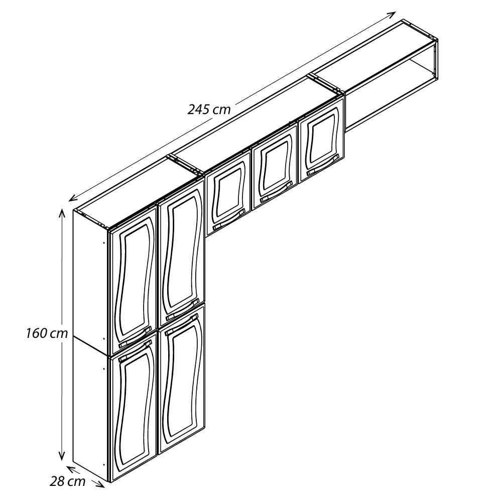 Cozinha Colormaq Paraty 3 Peças em Aço Branco: Paneleiro 4 Portas, Armário de Parede e Nicho em Aço