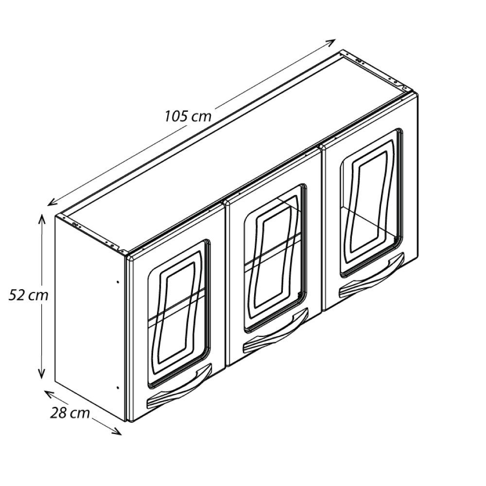 Armário de Parede Colormaq Ipanema 3 Portas em Aço e Vidro Branco