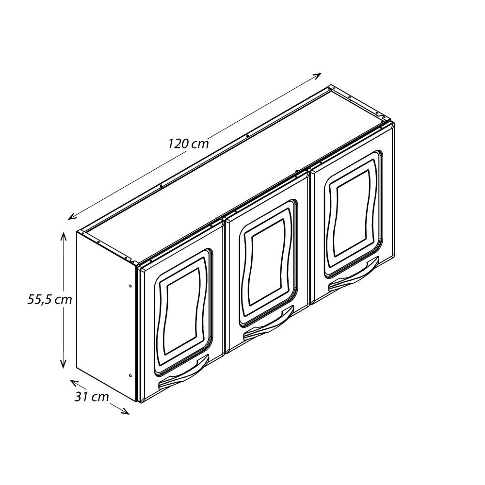 Armário de Parede Colormaq Ipanema Master 3 Portas em Aço e Vidro Branco