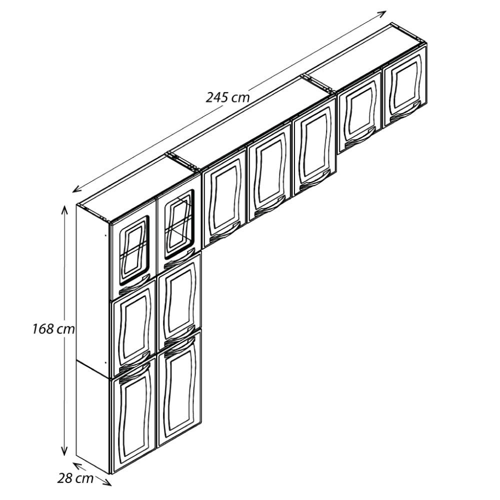 Cozinha Colormaq Ipanema 3 Peças em Aço Branco: Paneleiro, Mini Armário e Armário de Parede