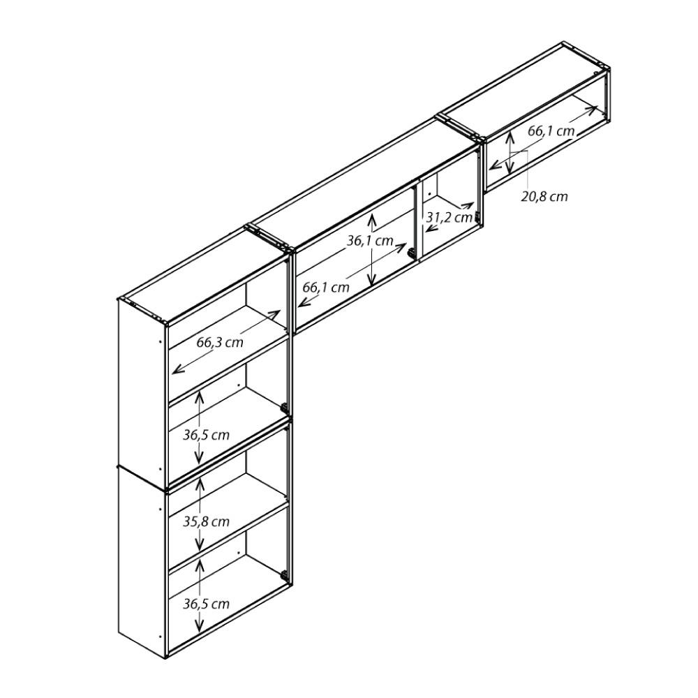 Cozinha Colormaq Ipanema 3 Peças em Aço Branco: Armário de Parede, Paneleiro e Armário de Parede Basculante