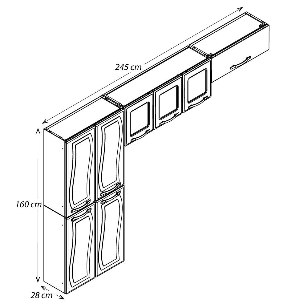 Cozinha Colormaq Paraty Glass 3 Peças em Aço Branco: Paneleiro 4 Portas, Armário de Parede e Basculante