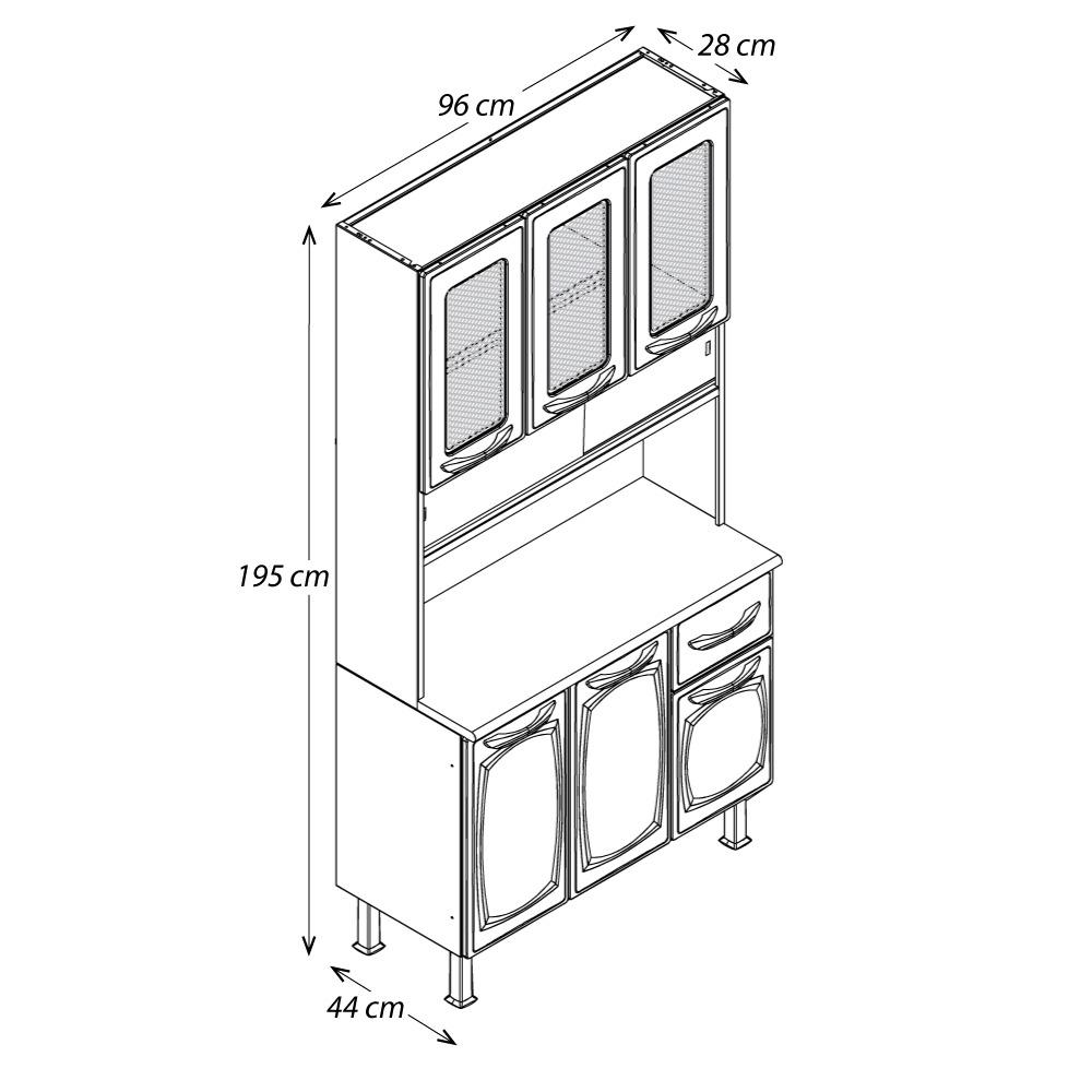 Kit de Cozinha Colormaq Leblon 6 Portas 1 Gaveta em Aço e Vidro Branco