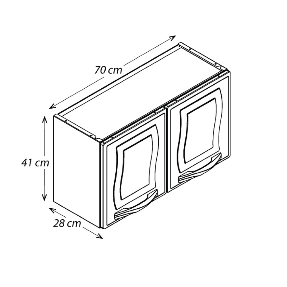 Mini Armário de Parede Colormaq Ipanema 2 Portas em Aço Branco