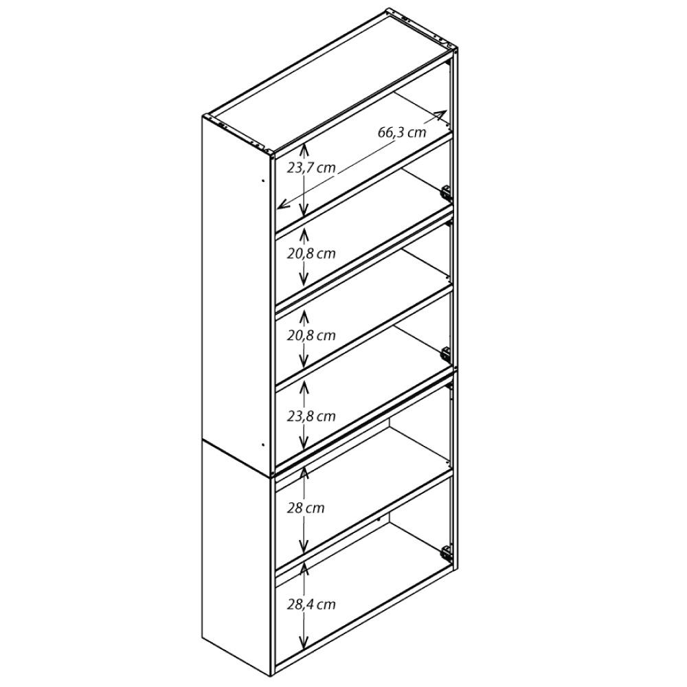 Paneleiro Colormaq Ipanema 6 Portas em Aço e Vidro Branco