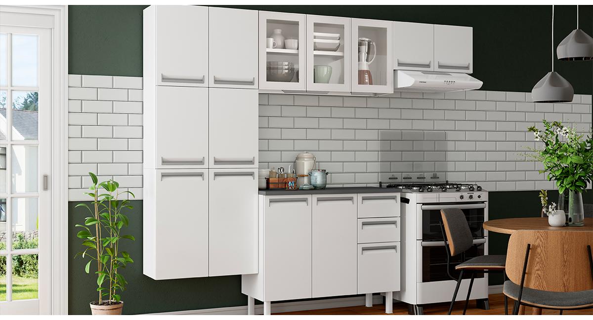 Cozinha Colormaq Roma 4 Peças Aço e Vidro Balcão Branco Tampo Grafito