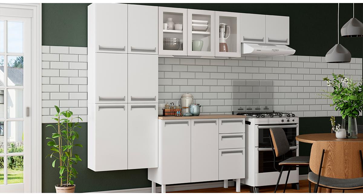 Cozinha Colormaq Roma 4 Peças Aço e Vidro Balcão Branco Tampo Madeira