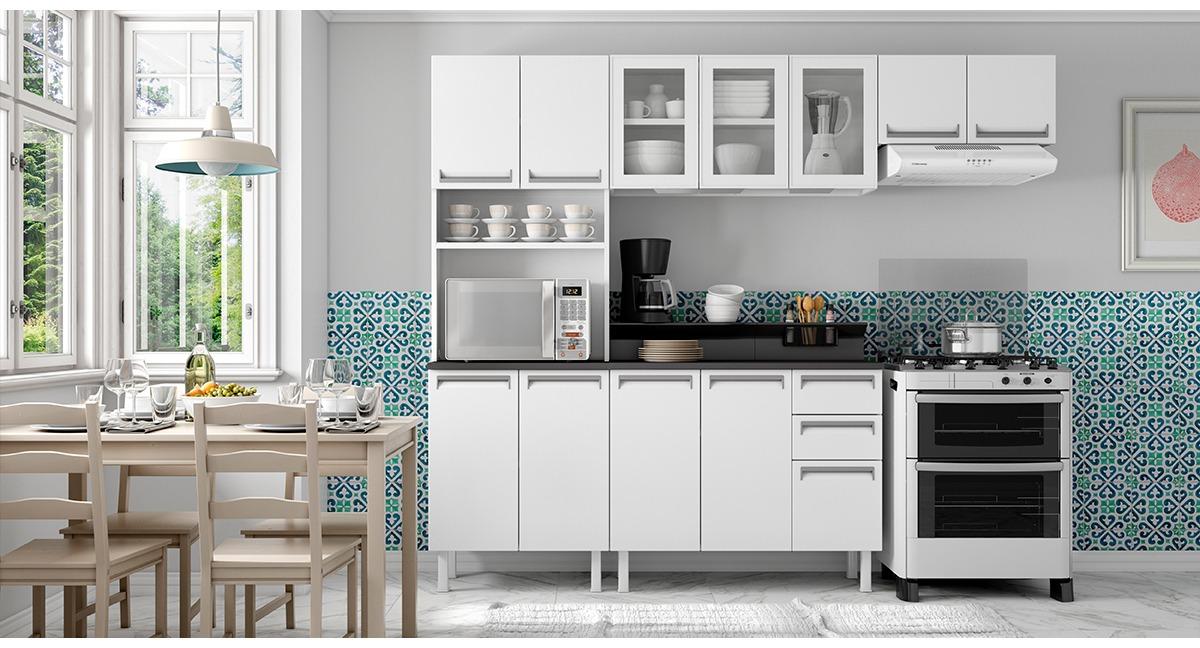 Cozinha Colormaq Roma 4 Peças em Aço e Vidro Balcão Branco Tampo Grafito