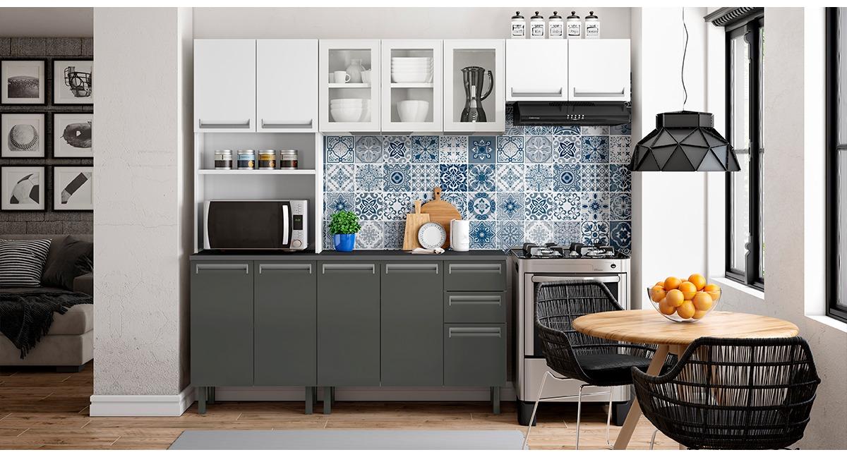 Cozinha Colormaq Roma 4 Peças em Aço e Vidro Balcão e Tampo Grafito
