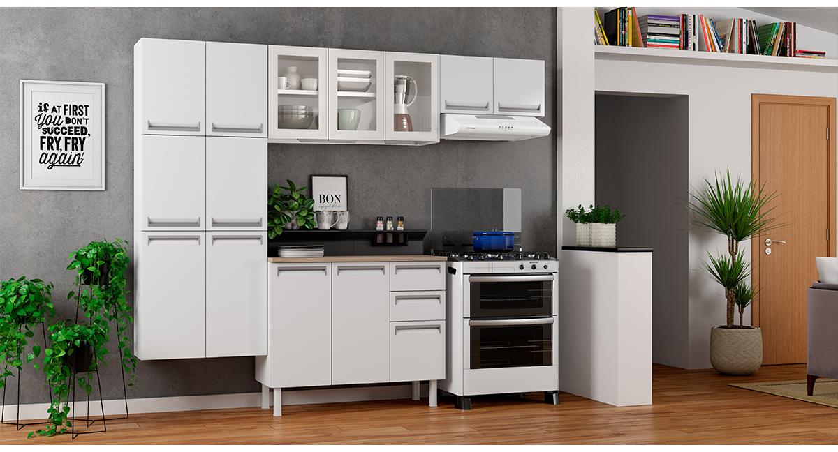 Cozinha Colormaq Roma 5 Peças Aço e Vidro Balcão Branco Tampo Madeira