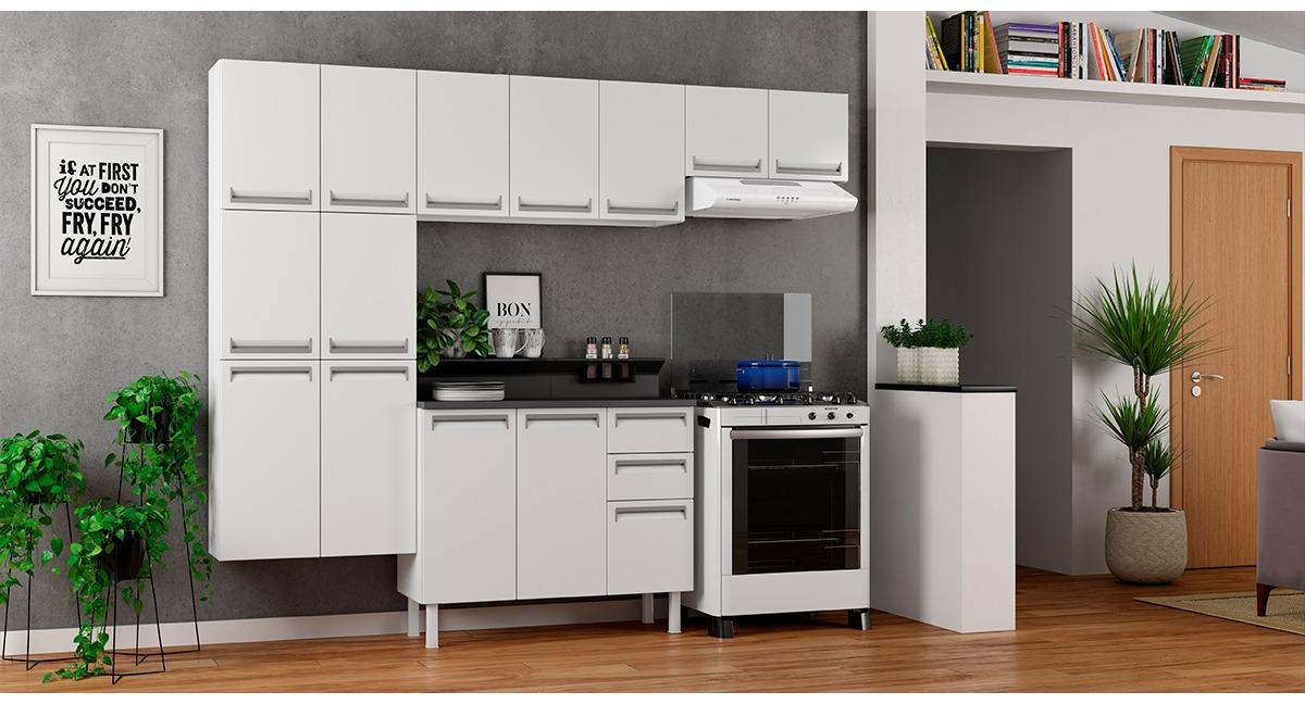 Cozinha Colormaq Roma 5 Peças Balcão Branco Tampo Grafito