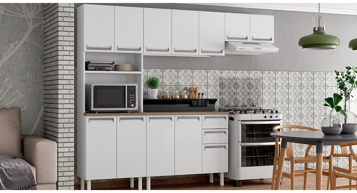 Cozinha Colormaq Roma 5 Peças em Aço Balcão Branco e Tampo Madeira