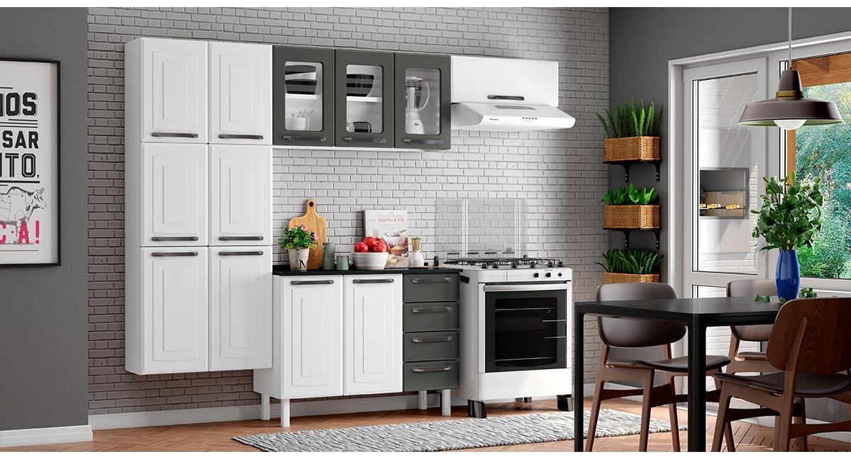 Cozinha Colormaq Titanium 3 peças com Balcão Branco e Grafito
