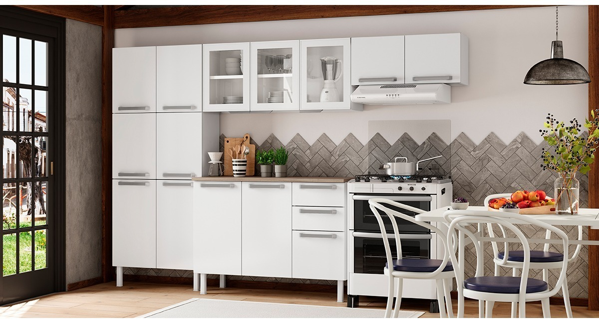 Cozinha Colormaq Verona 4 Peças em Aço e Vidro Balcão Branco Tampo Madeira
