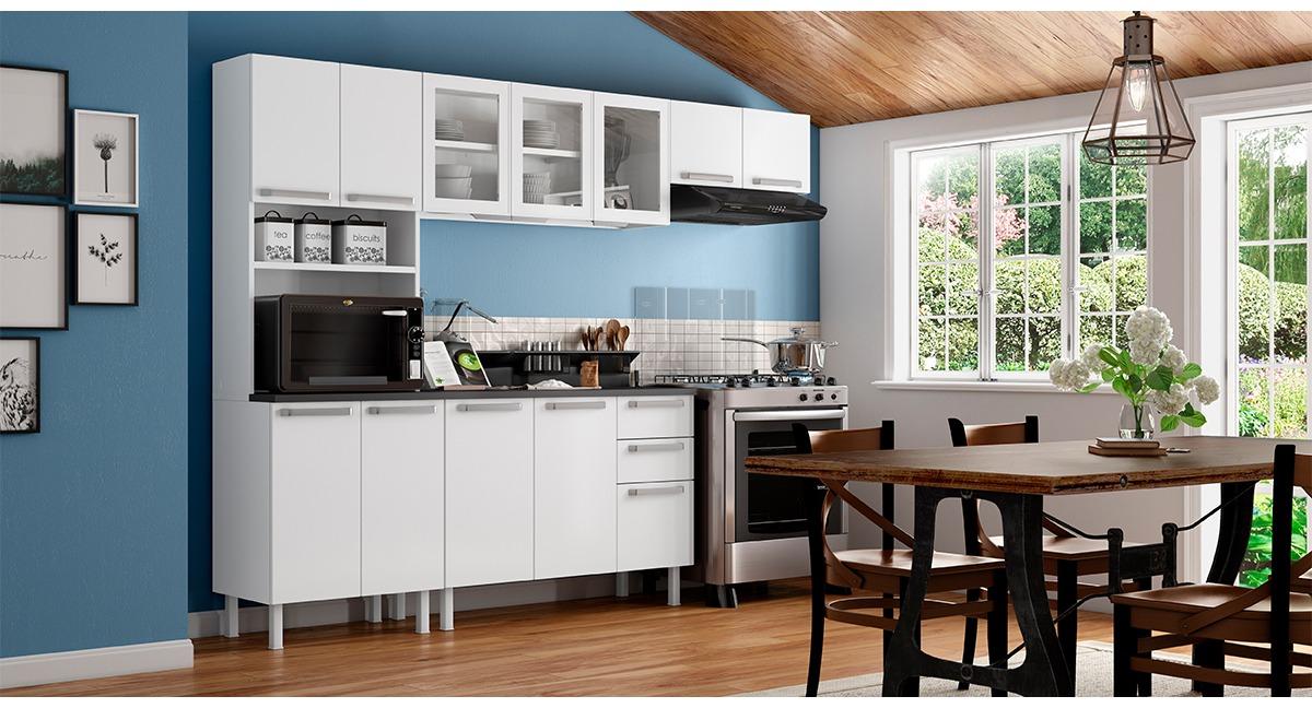 Cozinha Completa Colormaq 5 Peças Verona em Aço e Vidro Balcão Branco Tampo Grafito