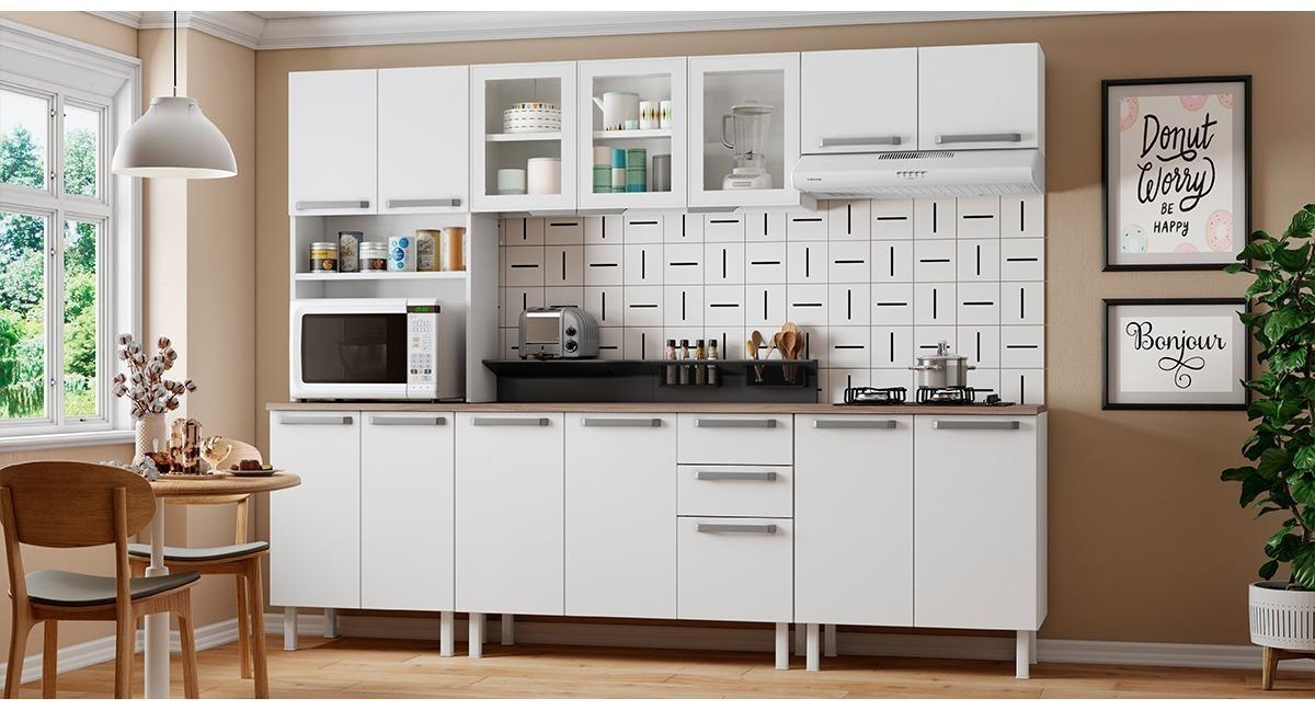 Cozinha Completa Colormaq Verona 6 Peças em Aço e Vidro Balcão Branco Tampo Madeira