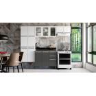 Cozinha Colormaq Roma 5 Peças Aço e Vidro Balcão Grafito Tampo Madeira