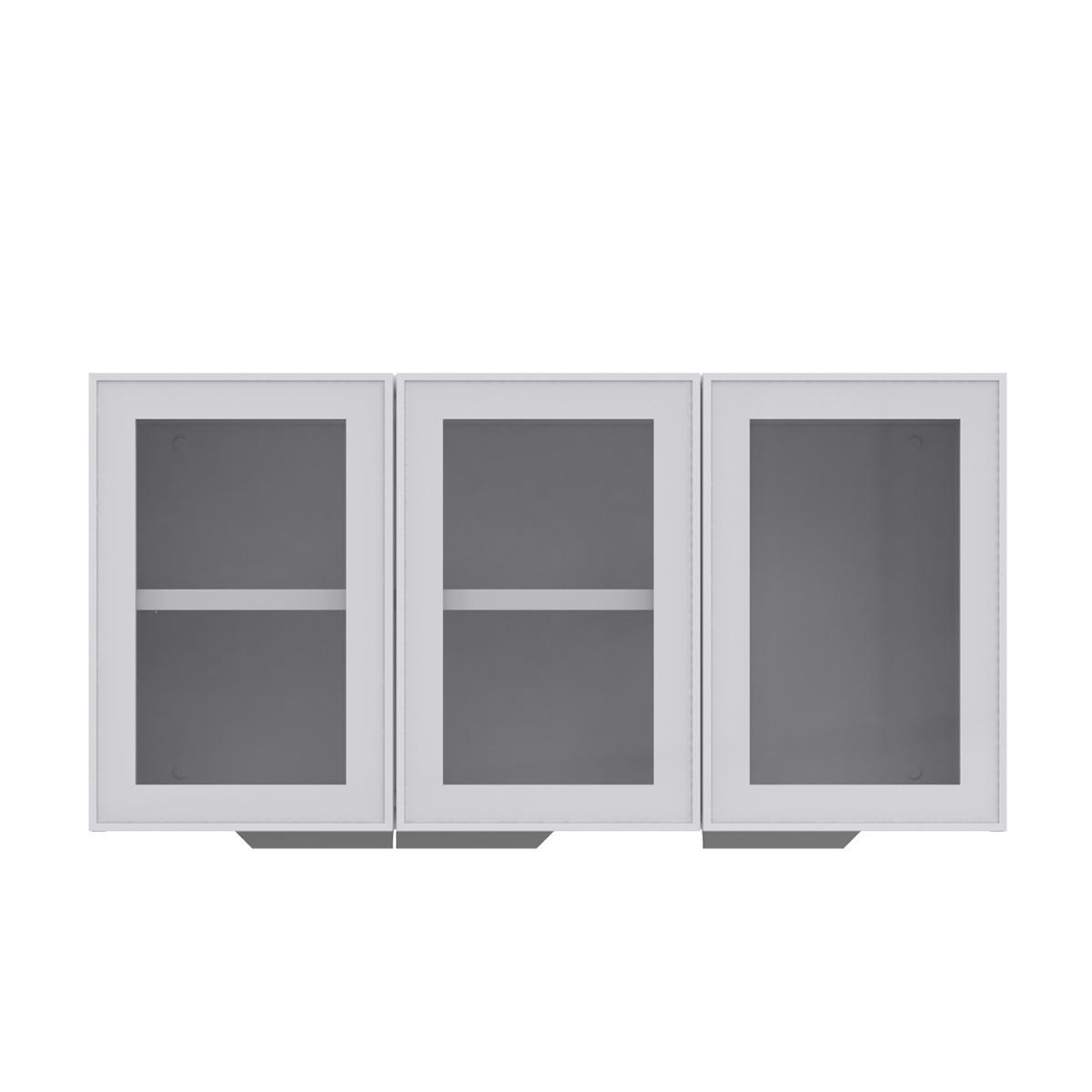 Armário de Cozinha Aéreo Colormaq Roma 3 Portas 52,5x105cm em Aço e Vidro