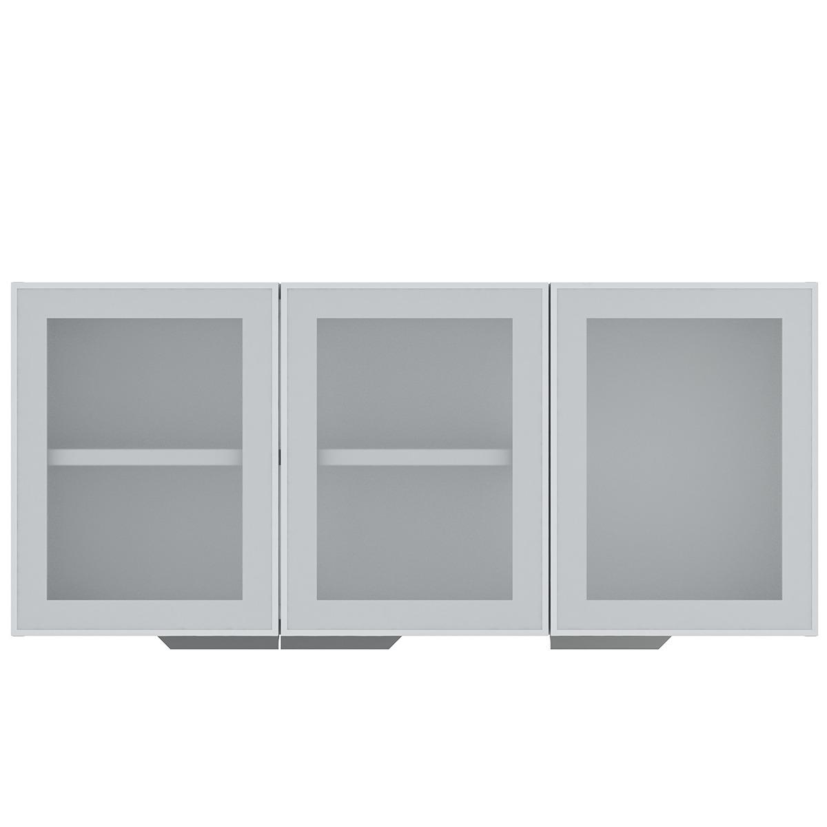 Armário de Cozinha Aéreo Colormaq Verona 3 Portas 52,8x120cm em Aço e Vidro