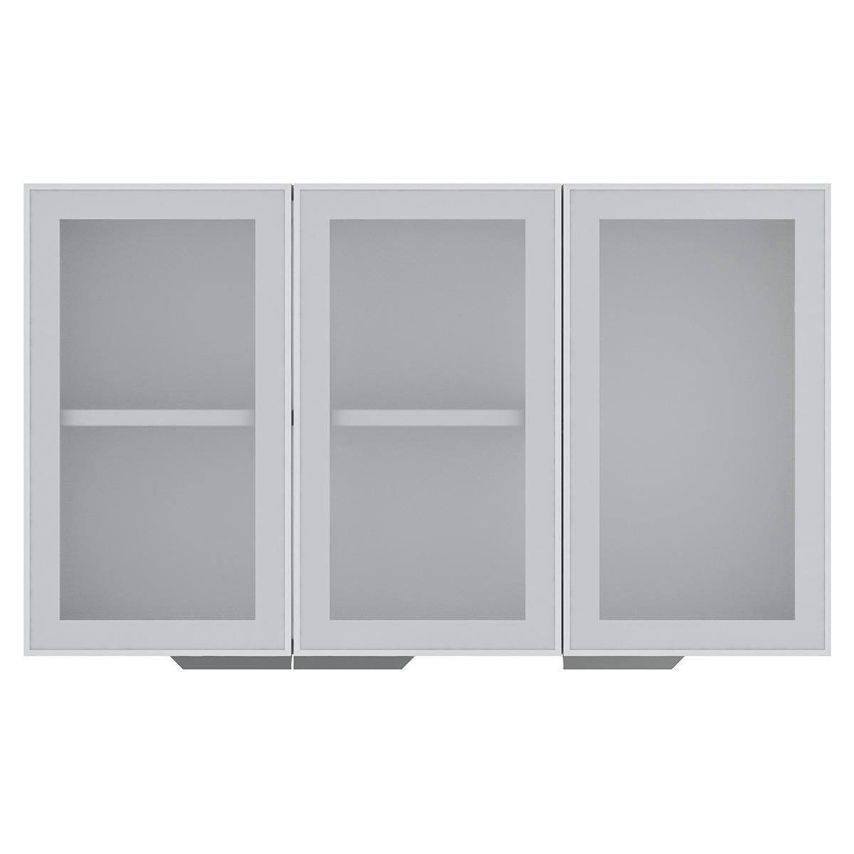Armário de Cozinha Aéreo Colormaq Verona 3 Portas 70x120cm em Aço e Vidro