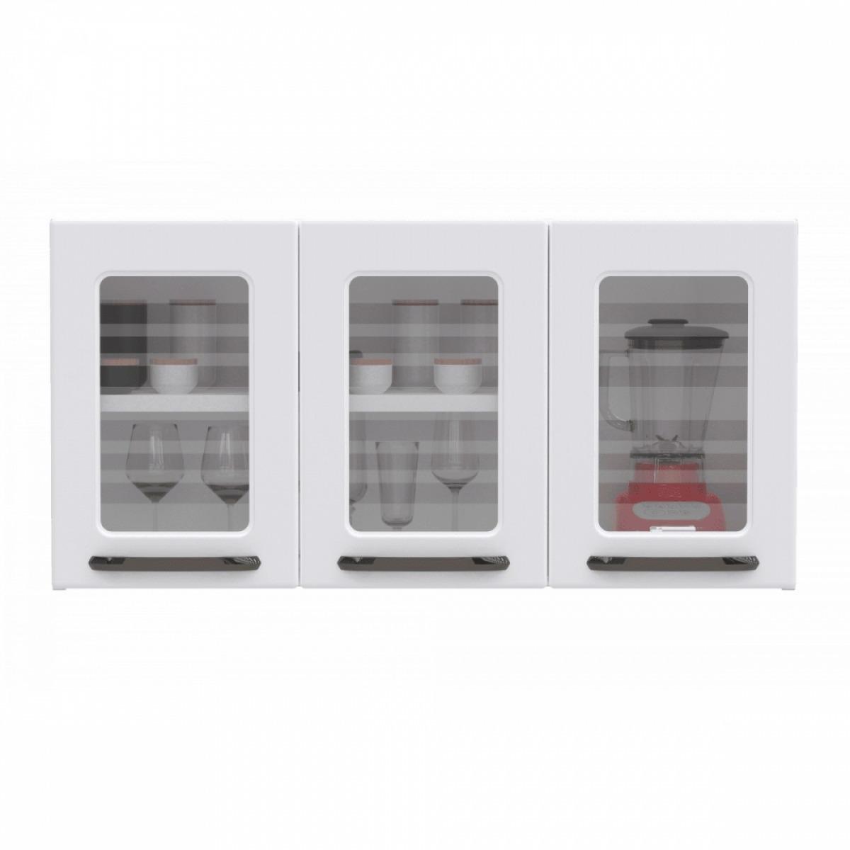 Armário de Cozinha Aéreo Titanium 3 Portas 52x105cm em Aço e Vidro