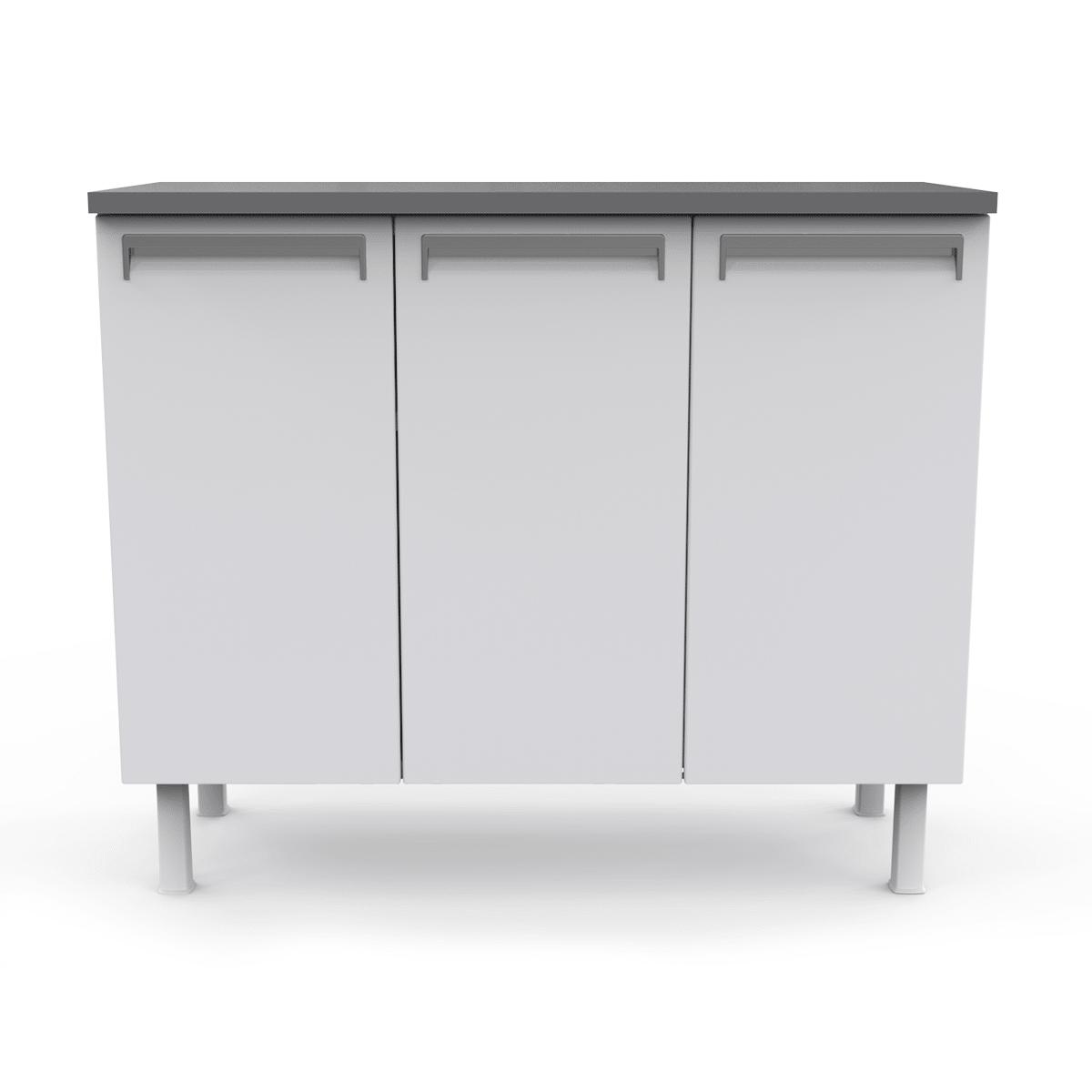 Balcão de Cozinha Colormaq Roma 105cm 3 Portas em Aço Branco e Grafito