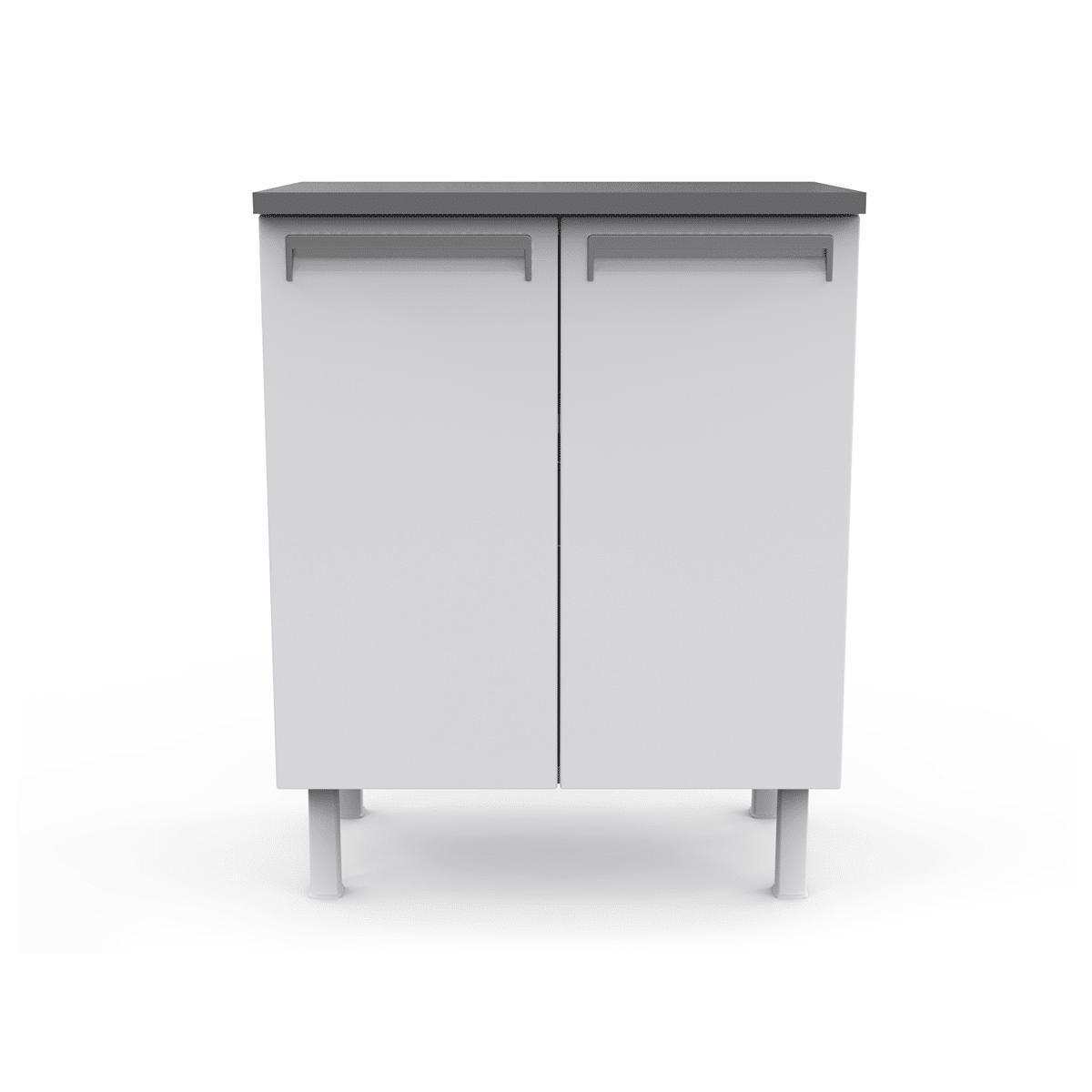 Balcão de Cozinha Colormaq Roma 70cm 2 Portas em Aço Branco e Grafito