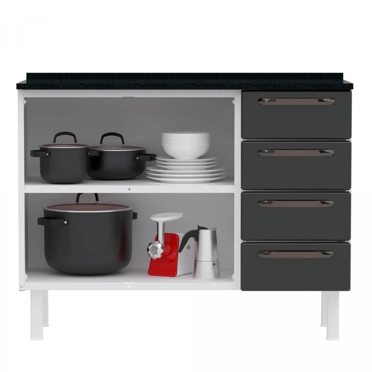 Balcão de Cozinha Colormaq Titanium 105cm 2 Portas, 4 Gavetas em Aço
