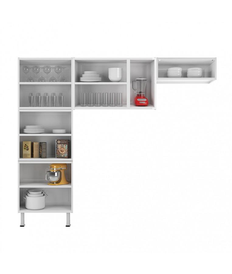 Cozinha Colormaq Leblon 3 Peças em Aço e Vidro Branco: Paneleiro, Armário de Parede e Armário Basculante