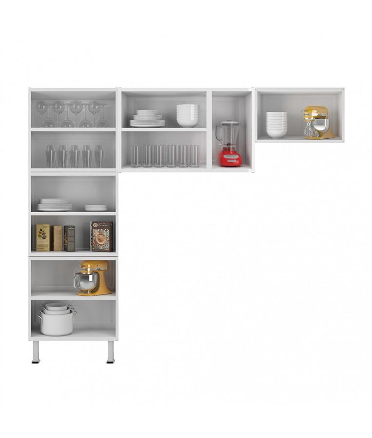 Cozinha Colormaq Leblon 3 Peças em Aço e Vidro Branco: Paneleiro, Armário de Parede e Mini Armário