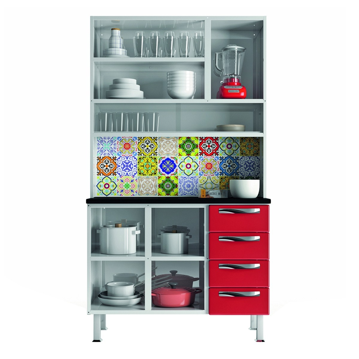 Kit de Cozinha Colormaq Colours 5 Portas e 4 Gavetas em Aço e Vidro Branco e Vermelho