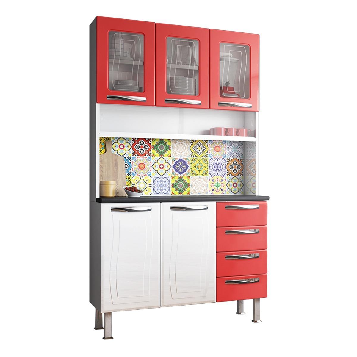 Kit De Cozinha Colormaq Colours 5 Portas E 4 Gavetas Em A O E Vidro