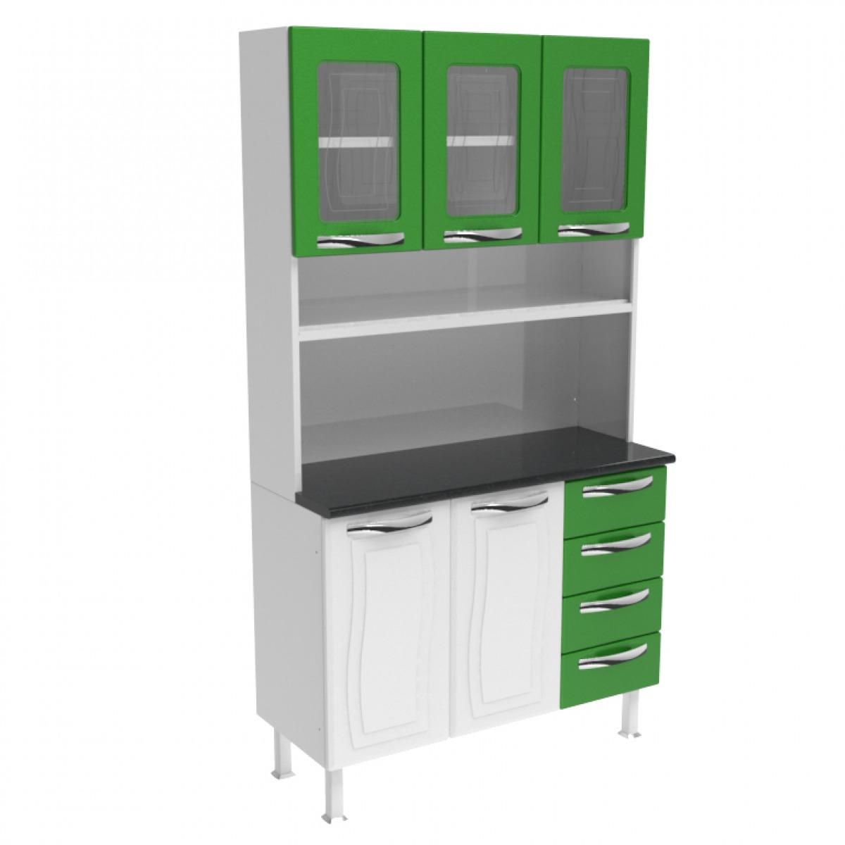Kit de Cozinha Colormaq Ipanema 5 Portas e 4 Gavetas em Aço e Vidro Branco e Verde