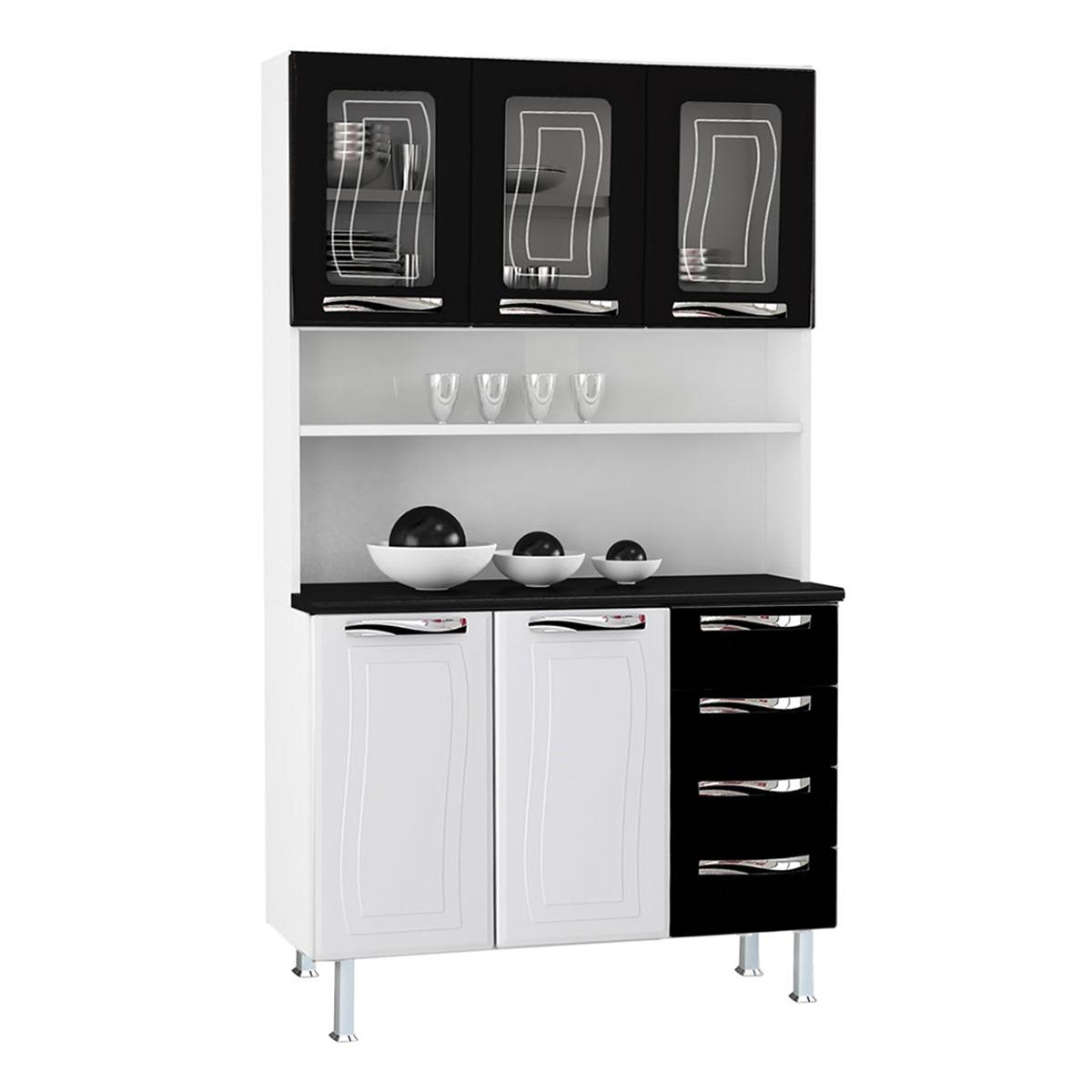 Kit de Cozinha Colormaq Ipanema 5 Portas e 4 Gavetas em Aço e Vidro Branco e Preto