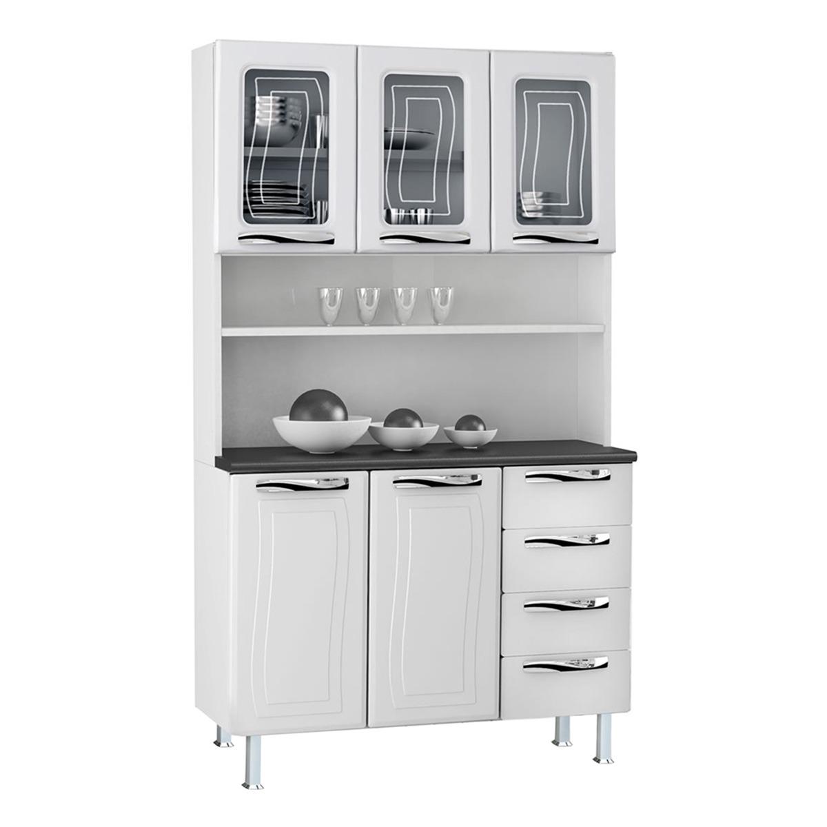 Kit de Cozinha Colormaq Ipanema 5 Portas e 4 Gavetas em Aço e Vidro Branco