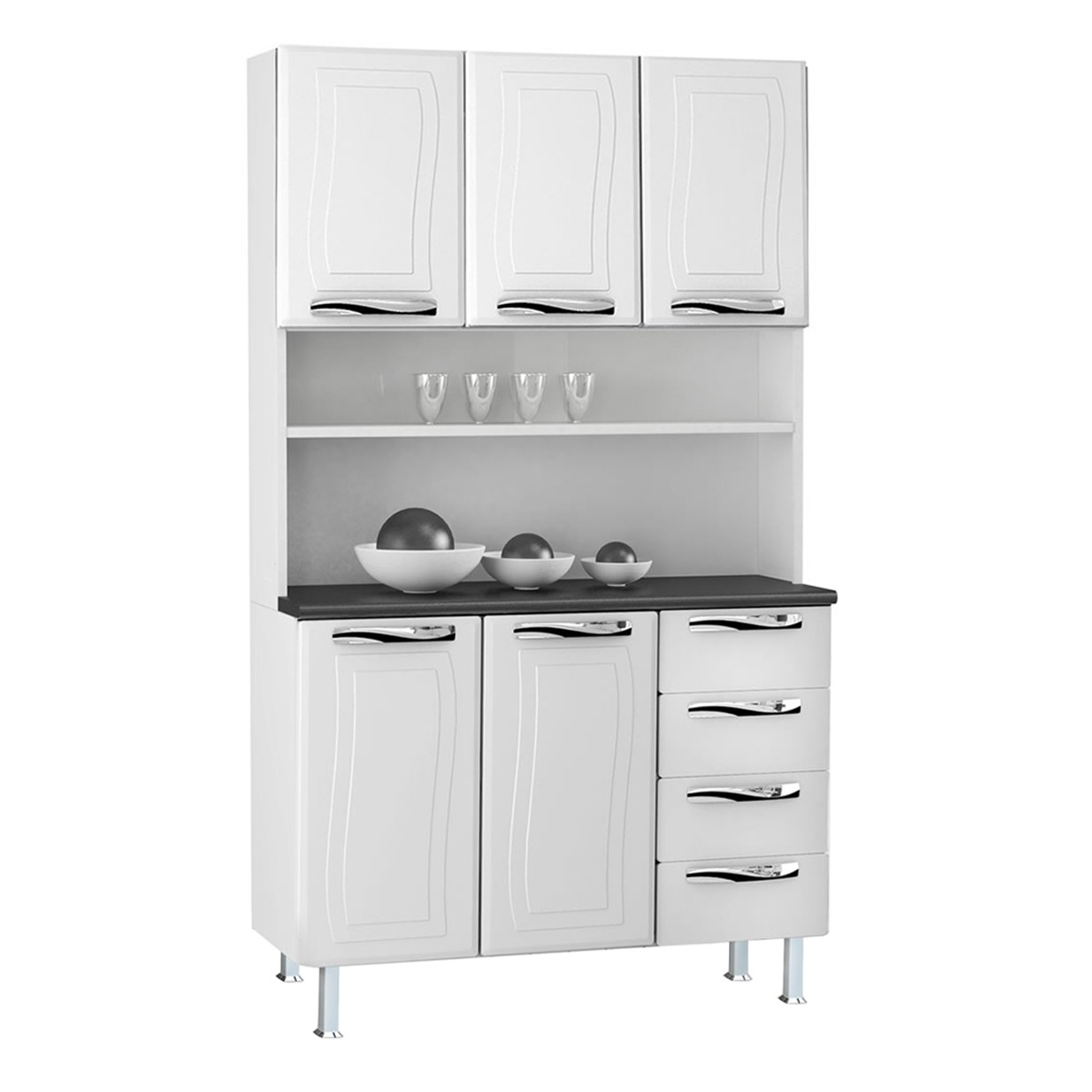 Kit de Cozinha Colormaq Ipanema 5 Portas e 4 Gavetas em Aço Branco