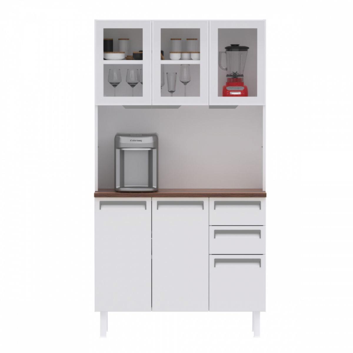 Kit de Cozinha Colormaq Roma 5 Portas, 2 Gavetas e 1 Gavetão em Aço e Vidro {{add_nome}}