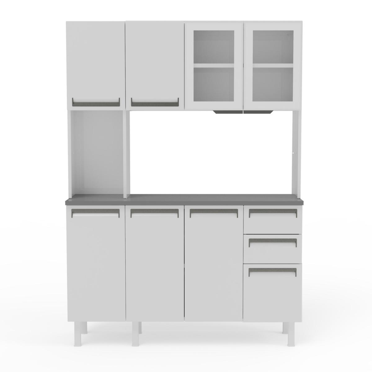 Kit de Cozinha Colormaq Roma 7 Portas, 2 Gavetas e 1 Gavetão em Aço e Vidro Branco e Grafito