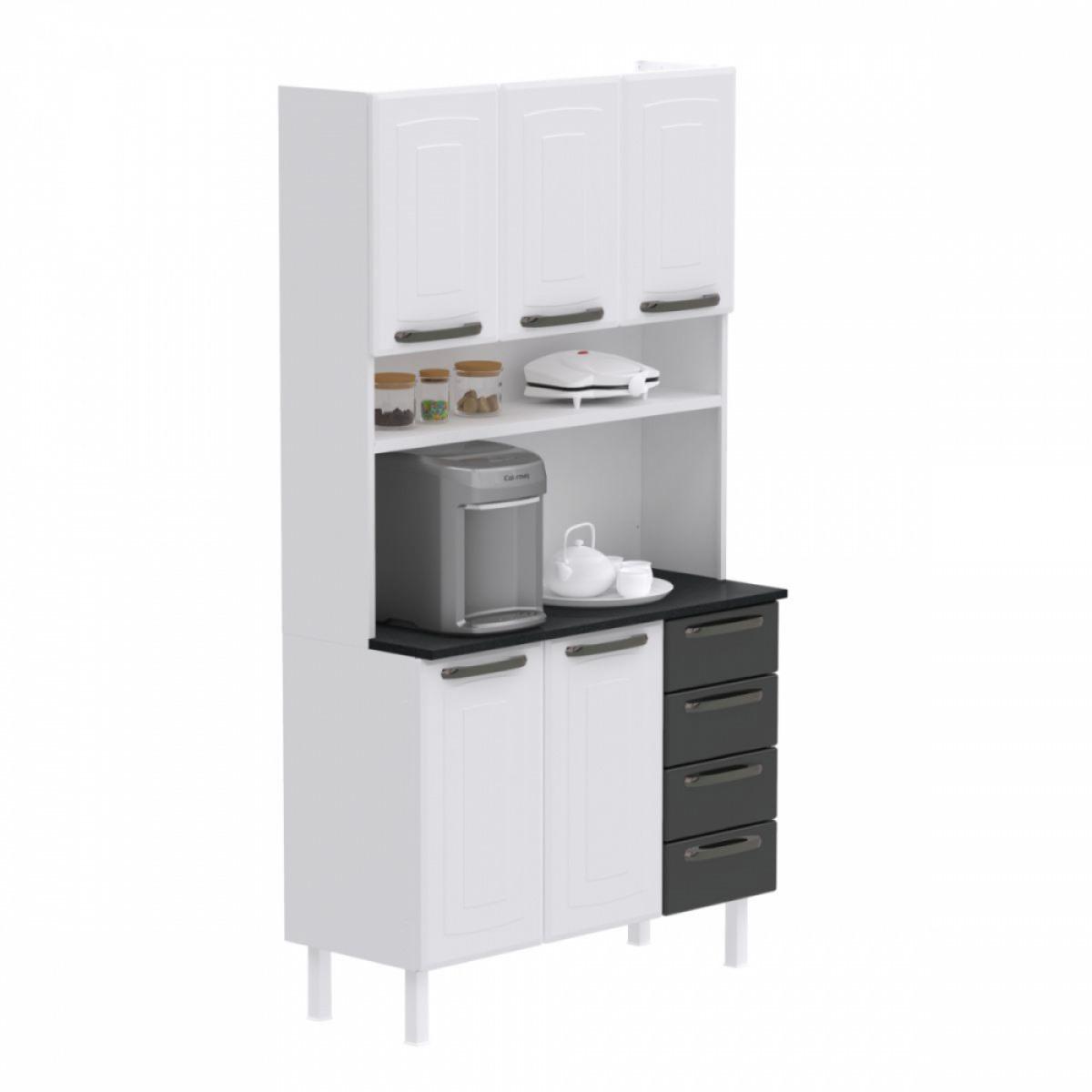 Kit de Cozinha Colormaq Titanium 5 Portas, 4 Gavetas em Aço