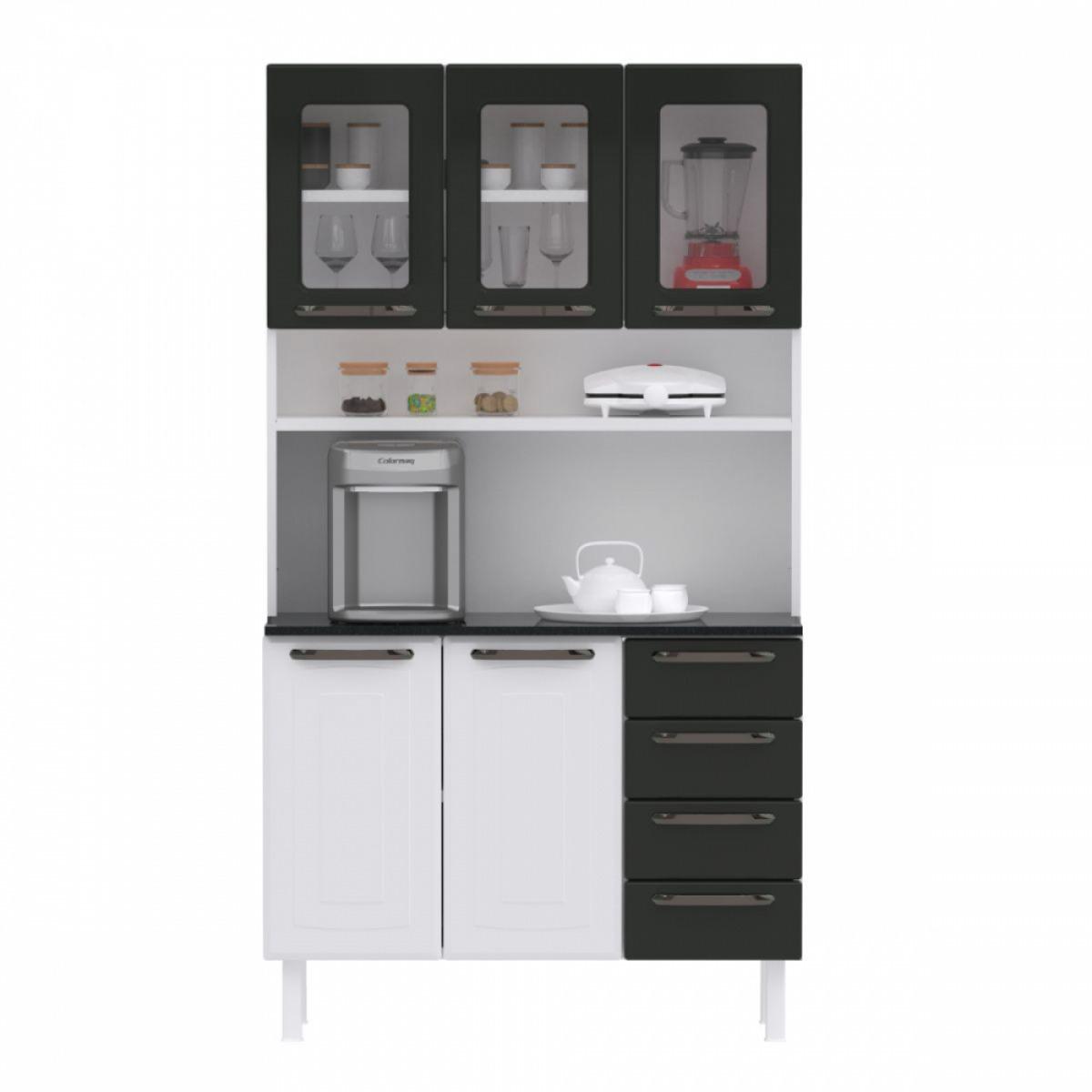 Kit de Cozinha Colormaq Titanium 5 Portas, 4 Gavetas em Aço e Vidro {{add_nome}}