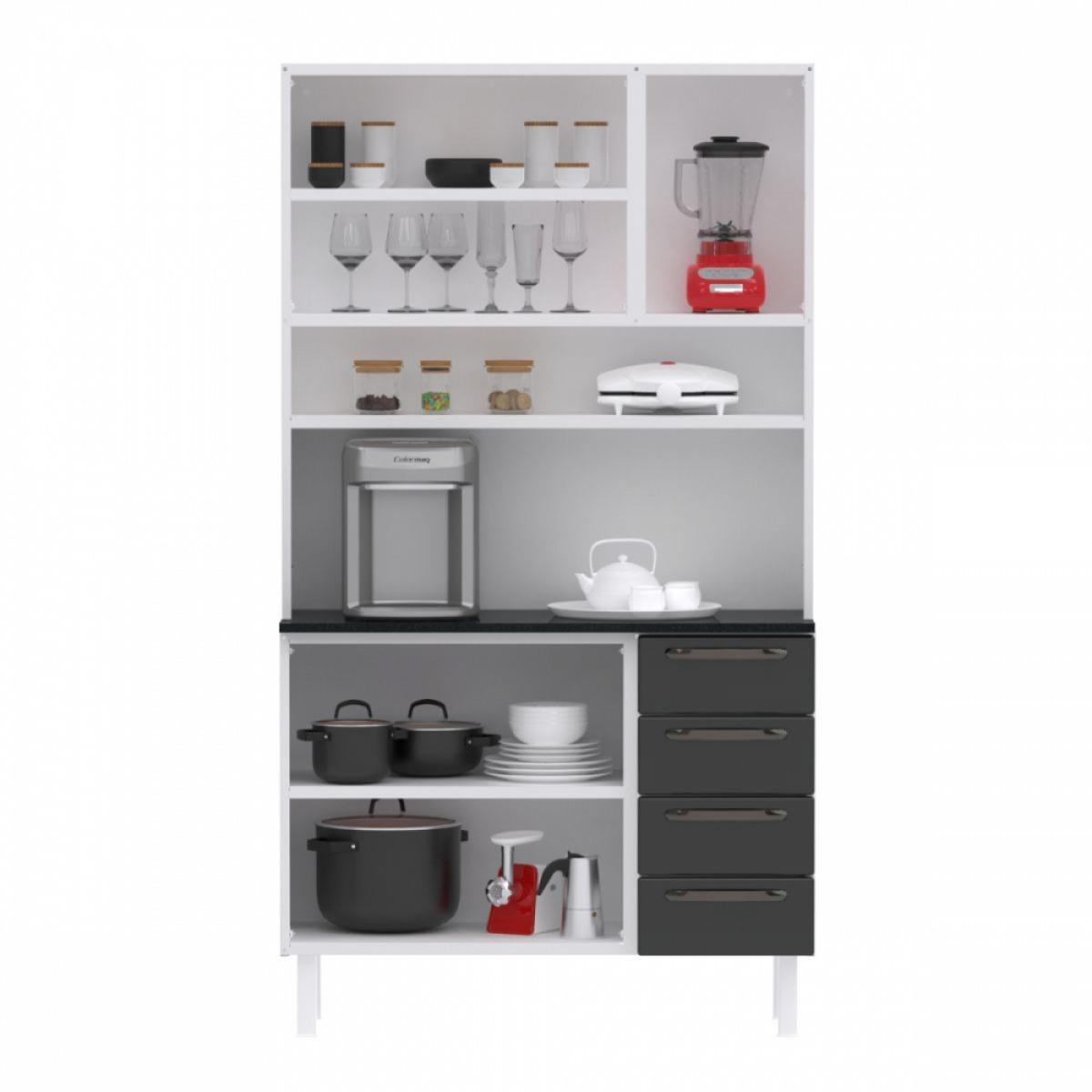 Kit de Cozinha Colormaq Titanium 5 Portas, 4 Gavetas em Aço e Vidro