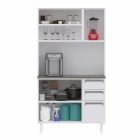 Kit de Cozinha Colormaq Roma 5 Portas, 2 Gavetas e 1 Gavetão em Aço Branco e Grafito vista frontal aberta