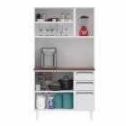 Kit de Cozinha Colormaq Roma 5 Portas, 2 Gavetas e 1 Gavetão em Aço Branco e Madeira vista frontal aberta