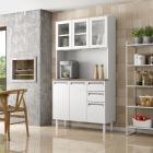 Kit de Cozinha Colormaq Roma 5 Portas, 2 Gavetas e 1 Gavetão em Aço e Vidro vista ambientada