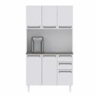 Kit de Cozinha Colormaq Roma 5 Portas, 2 Gavetas e 1 Gavetão em Aço Branco e Grafito vista frontal